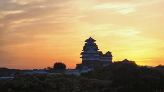 姫路城の空、染まる